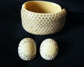 1950s Huge WEISS Ivory celluloid 12 ROW RHINESTONE hinged Clamper Cuff Bracelet and matching earrings set