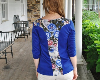 SALE Anna -Top/ Floral detailing on the back and shoulders/ Blue Top/Blue/ Fashion trend 2015