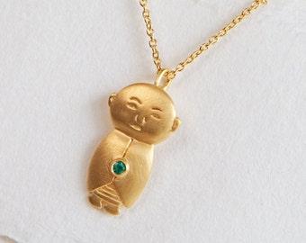 Emerald Jizo Pendant, Gold Jizo Necklace, Gold Buddha Jewelry, Buddhist Jewelry, Meditation Jewelry, Spiritual Necklace, Buddha Accessories