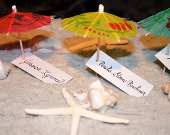 Beach Umbrella Escort Cards/Favors 1
