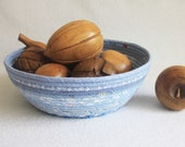 Coiled Rope Basket / Round Coiled Bowl / Periwinkle Blues Medium by PrairieThreads