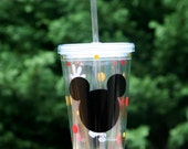 Personalized Mickey Mouse 16oz Insulated cup with polka dots and gloves