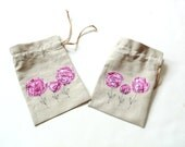 Linen gift bag, drawstring gift bag, funky pink appliqued flower, bridesmaids gift, bridal shower bag, unique gift bags, favor bags