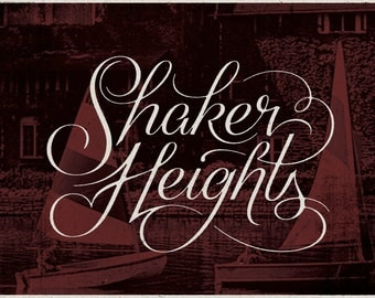 "Shaker Heights - Cleveland, Ohio Print - 12"" x 9"" French Speckletone Madero Beach, Vintage Inspired"