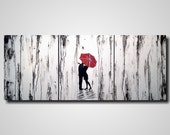 Original Large Abstract painting - 20 X 48 Inches-by Artist JMJartstudio- Between Us-Wall art-wall decor - Silhouette painting-Oil painting