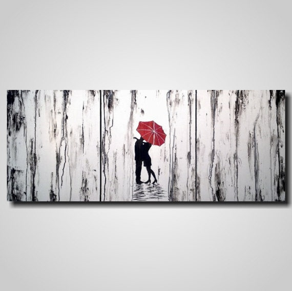 Original large abstract painting 20 x 48 inches by artist for Blank canvas designs wall art