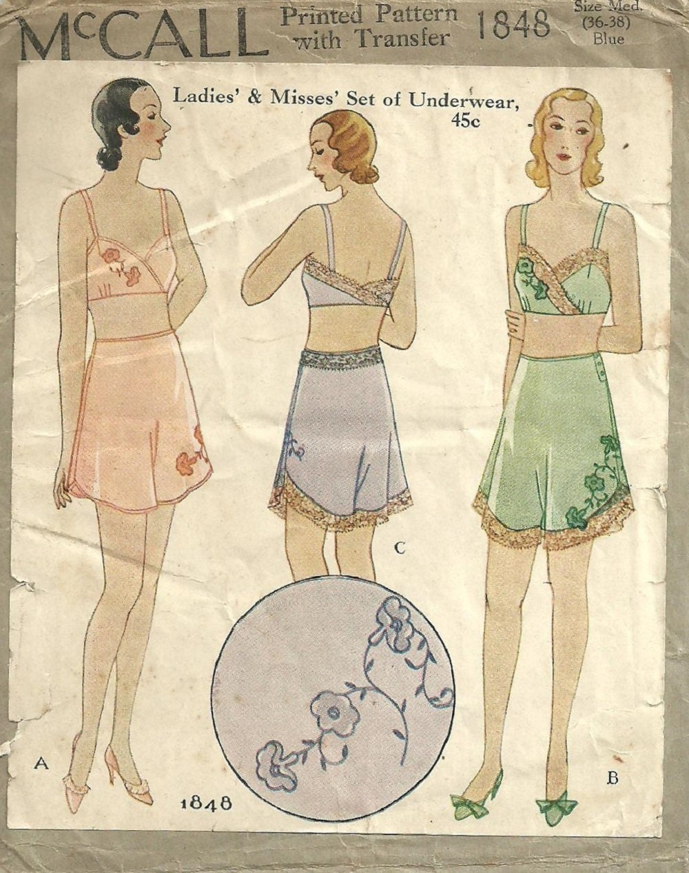 McCall 1848 / Vintage 30s Sewing Pattern / Bra Panties Shorts