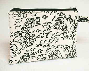 Zippered Wristlet Clutch with Black and White Sketched Clouds,  Black Wristlet, Zippered Pouch, Sky and Cloud Motif