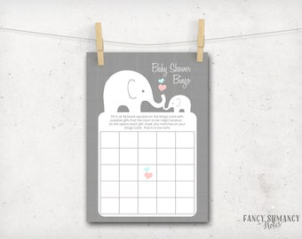 Elephant Baby Shower Bingo Game Cards / Little Peanut / Printable Baby Shower Game / Instant Download / PRINTABLE / #10205
