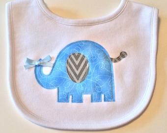 Baby Bib - Baby Boy Bib - Elephant Applique Baby Bib - Applique Baby Bib