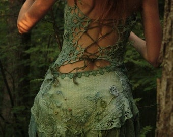 made to order Spirits of the lake, lace mini dress with bustle skirt and corset laced back burning man festival outfit