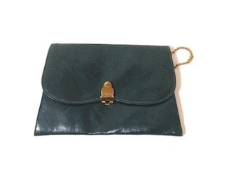 Vintage forest Green Leather wallet,  Britemode 1950s