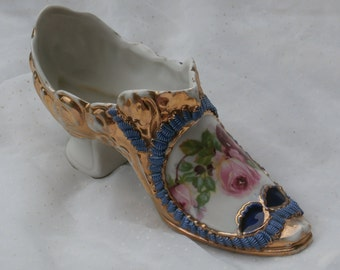 Ornate German Porcelain Shoe Figurine with Roses, Galluba & Hofmann Antique