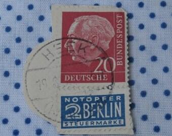 Germany Heuss Stamp, Deutsch Bundespost 20 w Notopfer 2 Berlin Steuermarke