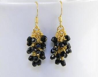 Black  Cascade Dangle Earrings in Gold, Black Dangle Earrings with Surgical Steel Ear Wires