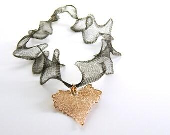Rose Gold Cottonwood Leaf on a Ruffled Black Mesh Necklace