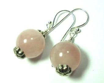Rose Quartz Pink Earrings Pink Rose Quartz Ball Earrings with Sterling