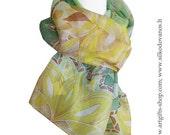 Silk scarf , hand painted - GREEN LOTUS