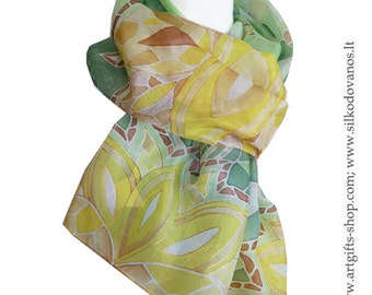 Silk scarf , hand painted - GREEN LOTUS