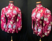 Exotic 1940's Magenta Silk Brocade Asian Cocktail  Jacket Old Hollywood Glamor VLV Film Noir Starlet Pinup Girl Size-Medium
