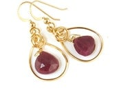 Red Ruby Gold Wire Wrapped Earrings, Unique Handmade Real Ruby Gemstone Earrings