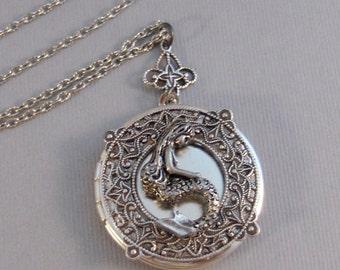 Inner Mermaid,Locket,Mermaid, Mermaid Locket,Antique Locket,Silver Locket,Goddess,Ocean Locket,Handmade jewelry by valleygirldesigns