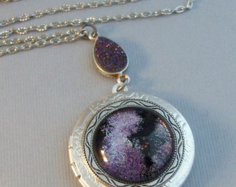 Galaxy Purple,Locket,Silver,Purple,Purple Locket,Galaxy Necklace,Galaxy Locket,Purple Necklace,Purple STone,Druzy,Druzy Necklace,Druzie,Drus