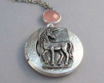 Pink Unicorn,Locket,Silver Locket,Antique Locket,Unicorn Locket,Unicorn Necklace,Pink Necklace,Little Girl,Baby,Child Locket,valleygirldesig