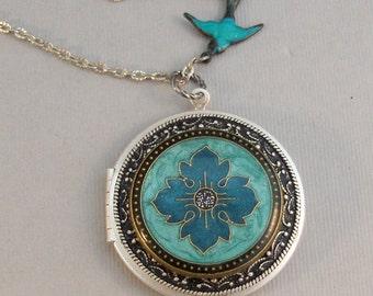 Botanical,Locket,Aqua,Aqua Blue,Aqua Flower,Blue Bird,Blue Flower,Blue Locket,Blue Flower Locket,Blue Necklace,Silver Locketvalleygirldesign