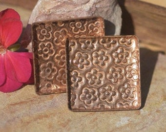 Textured Daisy Flower Copper Bezel Cups 24g 34mm Square Blanks Cutout for Enameling Blank