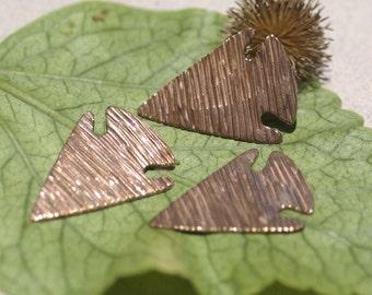 Arrowhead Woodgrain Pattern Blanks Cutout Shape for Enameling Metalworking Soldering Blank Variety of Metals - 4 pieces