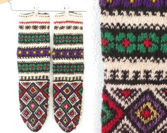 Wool Folk Socks * Handknit Slipper Socks * Folk Costume Booties