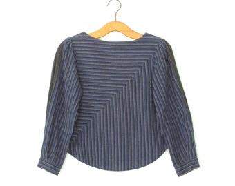 80s Striped Blouse * Vintage 1980s Shirt * Split Sleeve Top *  Medium