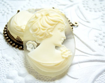 1 - Ivory on matte crystal resin cameo , 40x30mm  portrait cameo -  PX56
