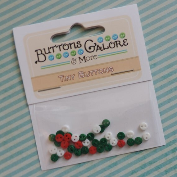 Micro Christmas Buttons, Teeny Tiny Buttons by Buttons Galore, Packaged Assortment, 2 Hole Buttons, Sewing, Crafting, Embellishments