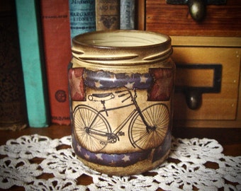 Vintage Bicycle & Americana Stars Storage Organization Jar, Office Art Supplies Pen Pencil Holder Upcycled Glass Jar Vintage Decoupage Art