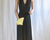 SEXY Vintage 1970's Black Maxi Dress with Plunging Neckline & Daring  Back Black MOD Gown