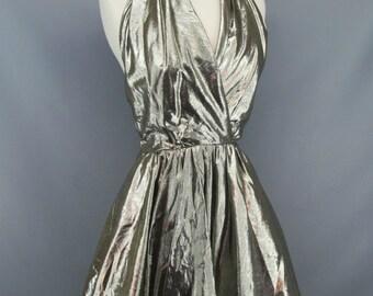 Vintage Silver Gold Metallic Lame Marilyn Monroe Style Halter Dress Size Small
