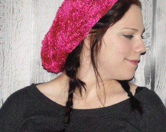 Slouchy Pink Hat, Knitted pink hat, knitted hat, knit hat pink, knit pink hat, candy pink, Tam, womans knit hat