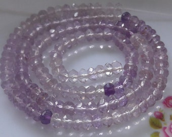 Beautiful Pink shaded Amethyst Micro Faceted Rondelle, 1/2 strand, 4-4.5mm
