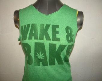 Cannabis Marijuana Leaf Reefer Pot Weed Upcycled Tee  Tank Top Small/Med