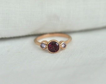 Rhodolite and Pink Sapphire Ring with 14 Karat Rose Gold Setting