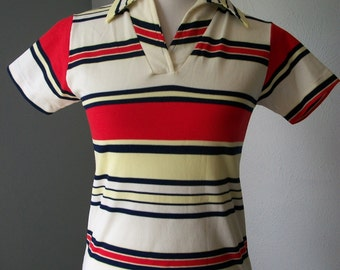 70s Fly Collar Striped Nylon Summer Top - Red, White and Blue - 100% Nylon - Size M/L
