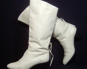 Pertti Palmroth Finland 1980s tall snow white leather boots - 8 B - beautiful 80s Finnish designer knee high boots