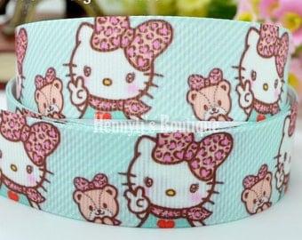 "4 yards : Hello Kitty Pink Leopard Bow Character Cartoon Logo Brand Inspired Aqua Grosgrain Ribbon 7/8"" inch wide. Gift Wrap. DIY Supplies."