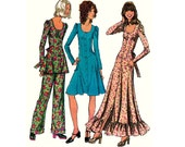 70s Dress Tunic Pants Pattern Simplicity 5177 Boho Flounced Maxi Hippie Dress Vintage Sewing Pattern Size 12 Bust 34 inches