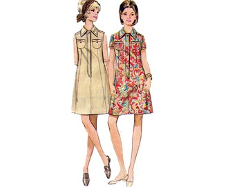 60s Shirtdress Pattern Butterick 5149 A Line Dress Collar Tab Front Shift dress Vintage Sewing Pattern Size 10 Bust 32 1/2 inches
