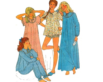 80s Girls Nightdress & Pajamas Pattern Style 3206 Vintage Sewing Pattern Size 8 Chest 27 Inches