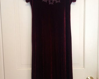 90s Cranberry Velvet Triple Stars Maxi Dress