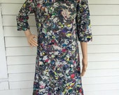 Vintage 60s Print Dress Mod Muti Color Artsy Paula Dean 1960s M L